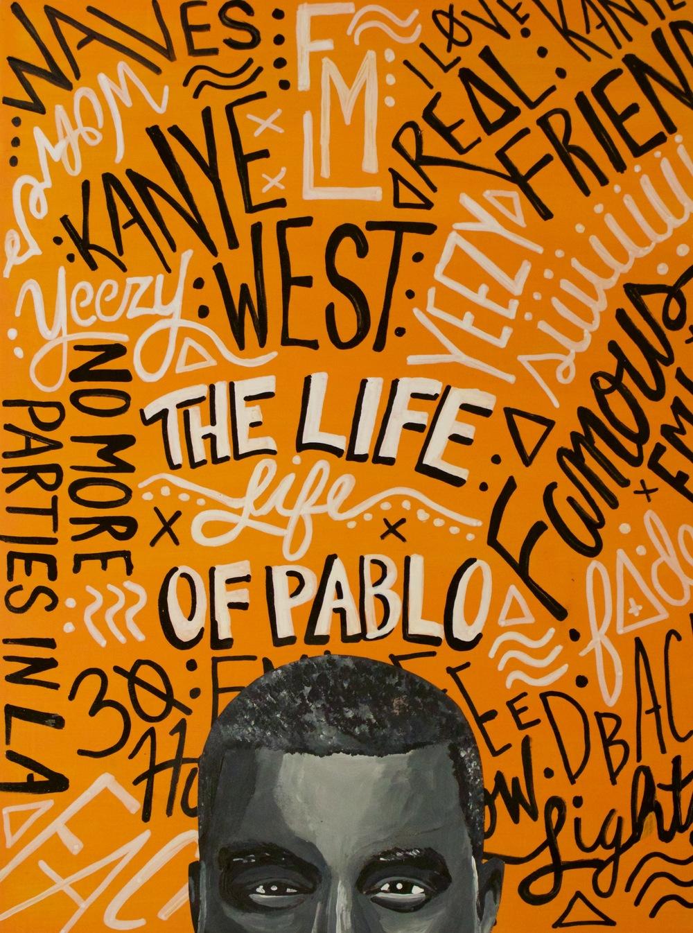 "Kanye West Typographic Portrait 16"" x 20"" (2016)"