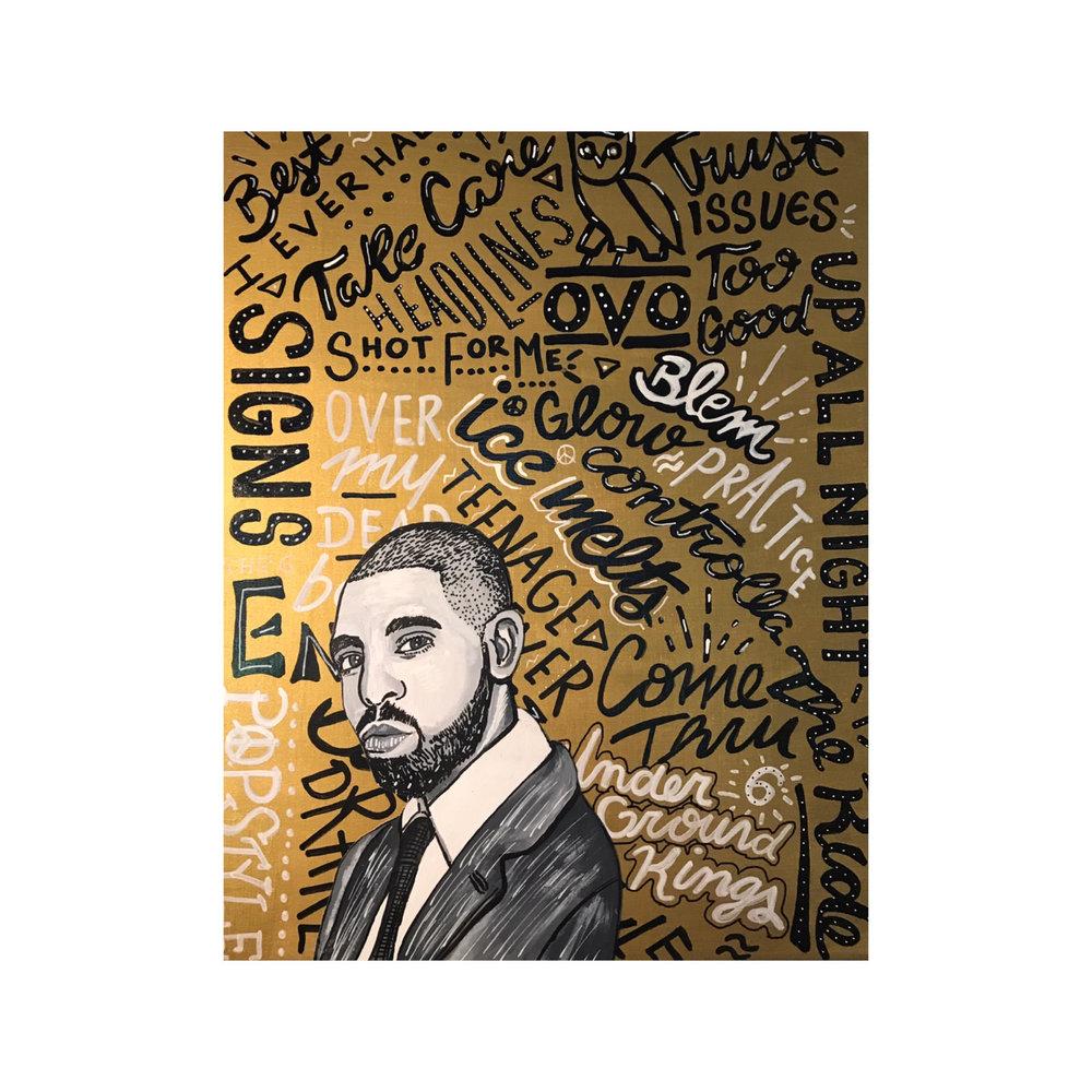 """Drake Typographic Portrait 12"""" x 18"""" (2017)"""