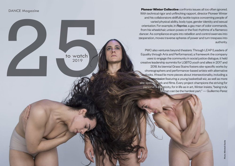 Click the image to read more about this honor and the other dancers, choreographers, and companies selected by Dance Magazine for 2019. Image credit: Studio portrait of Pioneer Winter Collective company members (from left) June Romero, Katrina Weaver, and Lize-Lotte Pitlo; courtesy of Mitchell Zachs.