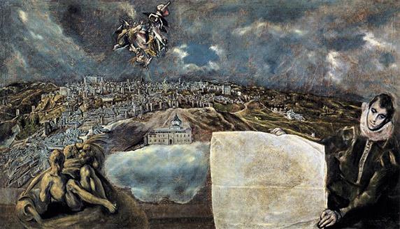 El Greco,Vista y plano de Toledo.