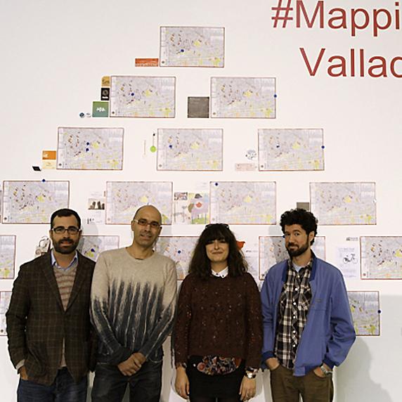 Javier Silva, Pedro Gallego, Marta Álvarez y Julio Falagán, en #MappingArt Valladolid.