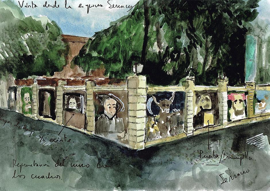 Dibujo de Enrique Marty mostrando la vista de la esquina de Serrano y María de Molina.© Enrique Marty