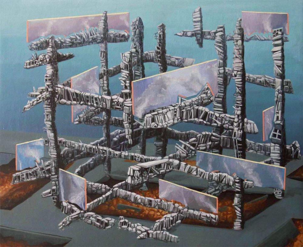 "Simón Arrebola. ""Apocalipsis figurada II"", 2015. Óleo sobre lienzo. 54 x 65 cm."
