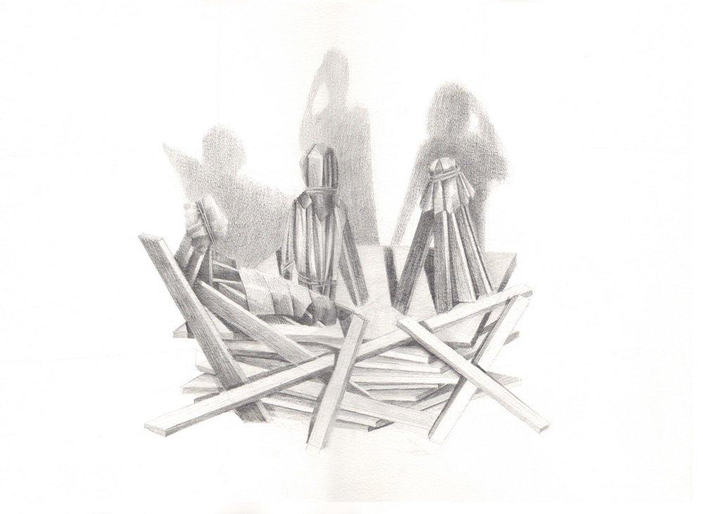 "Simón Arrebola. ""Teatro del dolor II"", 2012. Grafito sobre papel. 30x40 cm."