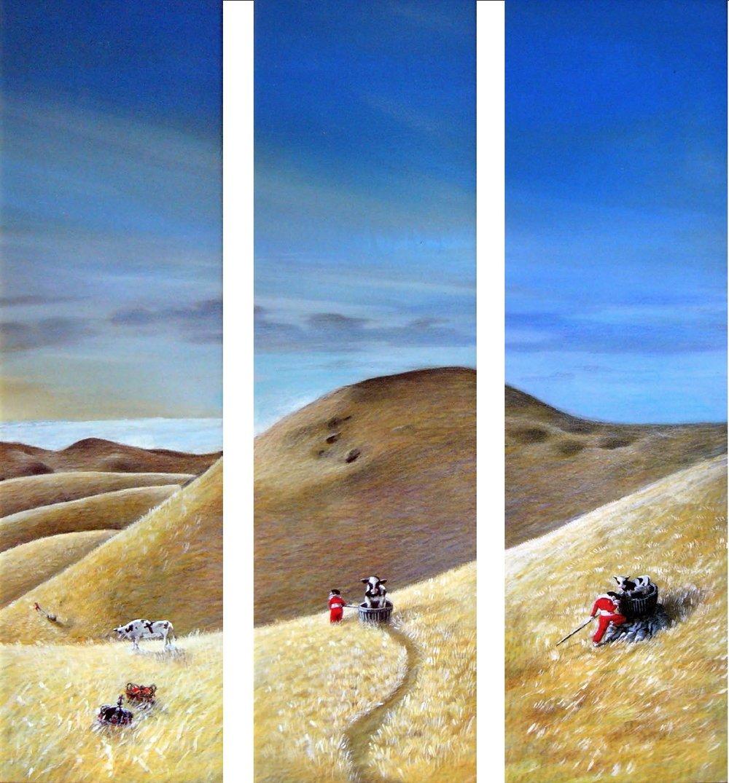 """""""  Today is the day to be real.  El viaje"""" (1), 2016. Acrílico y lápiz sobre tabla. Tres piezas de 60x17 cm c/u  ."""