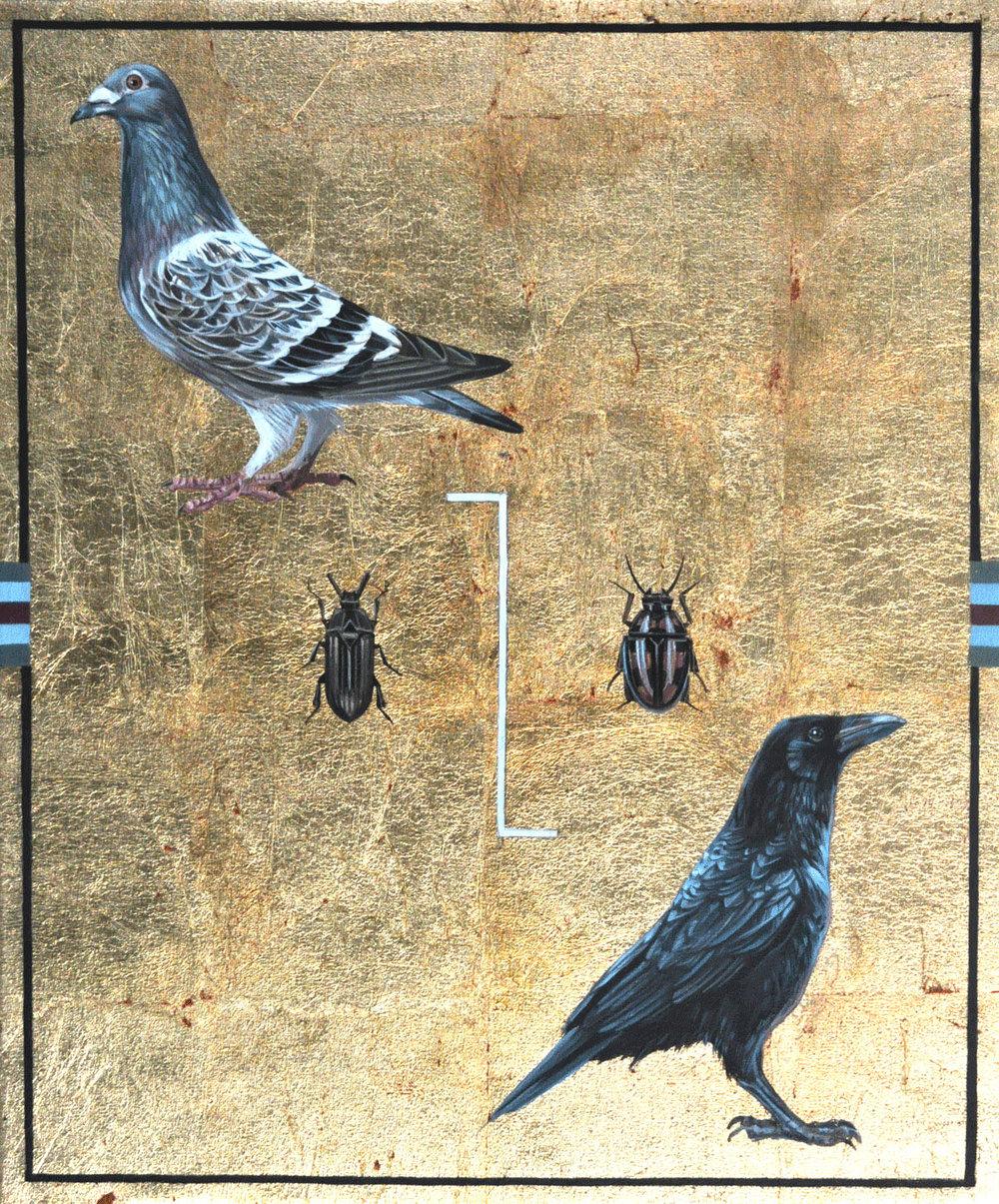 """NIMENOS"" (detalle), 2017. Óleo, esmalte y pan de oro sobre lienzo. 46x55 cm."