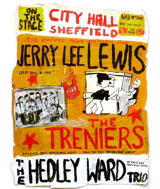 """City Hall Sheffield. Jerry Lee Lewis"", 2017. Acrílico, collage y lápiz sobre papel. 42x33 cm"