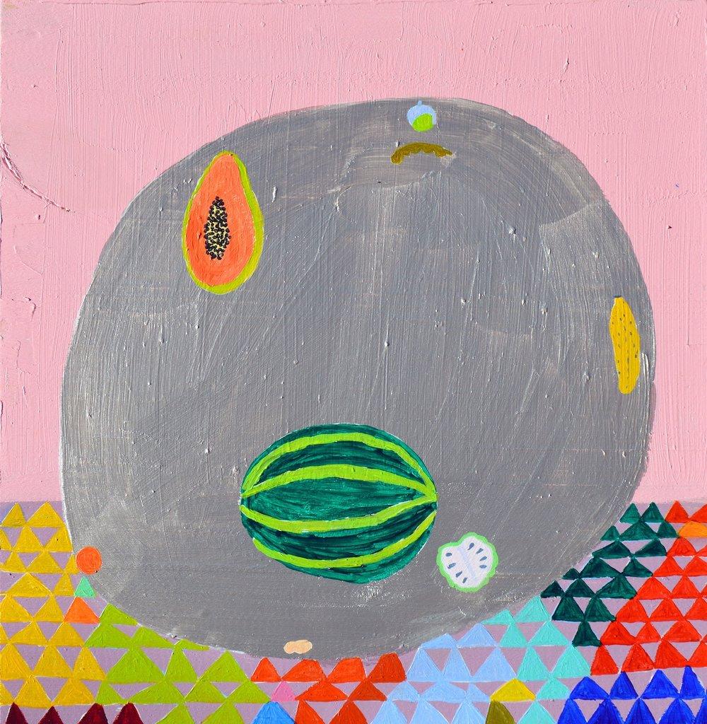 """Laura López Balza. """"Algunas frutas de otoño"""". 2018. Acrílico/tabla. 30x29 cm"""
