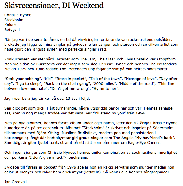Chrissie Hynde - recension i DN Weekend.png