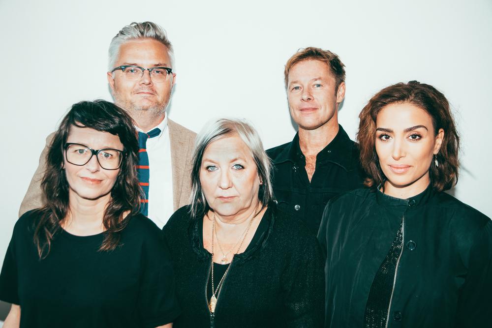 Juryn för Swedish Music Hall of Fame: Jan Gradvall, Per Sinding-Larsen, Anna Charlotta Gunnarson,Kerstin Behrendtz och Ametist Azordegan. (Foto: Gustav Wiking)