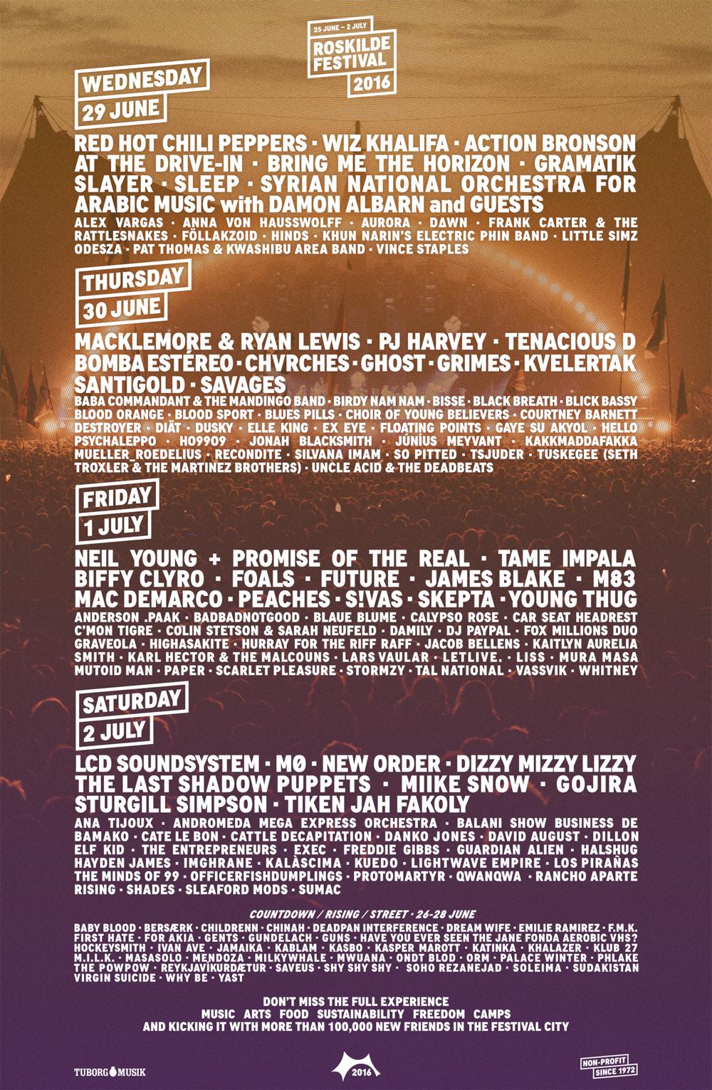 Dag-för-dag-affisch, Roskilde Festival 2016