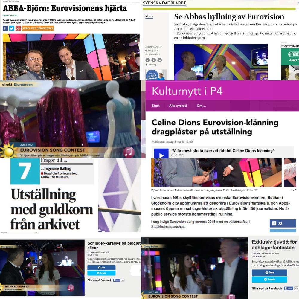 Ett axplock av pressgenomslaget för ABBA The Museum våren 2016. Bilder från SVT, TV4, TT/Metro, DI Weekend, SR Kulturnytt och SvD.