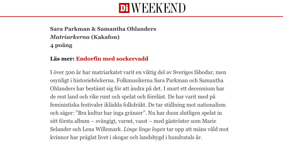 Matriarkerna Sara Samantha DI Weekend Gradvall recension.png