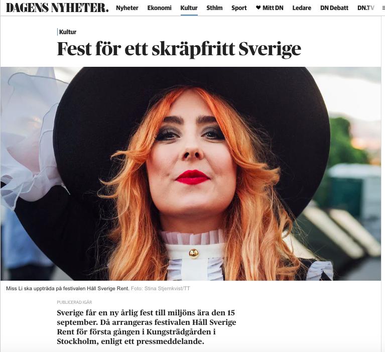 Skärmdump från DN Kultur (TT Nyhetsbyråns notis om Håll Sverige Rent-dagen)