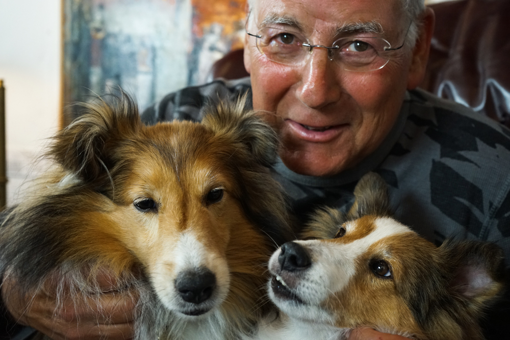 JOHN WILMER WITH HIS TWO SHELTIES