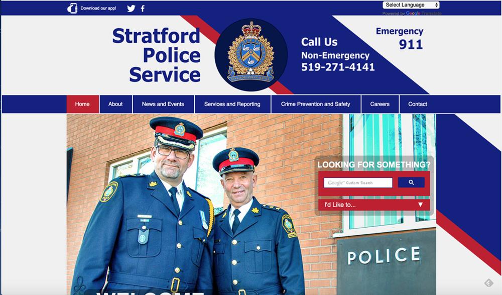 (Top) Stratford Police Service, (Winning) Website Design