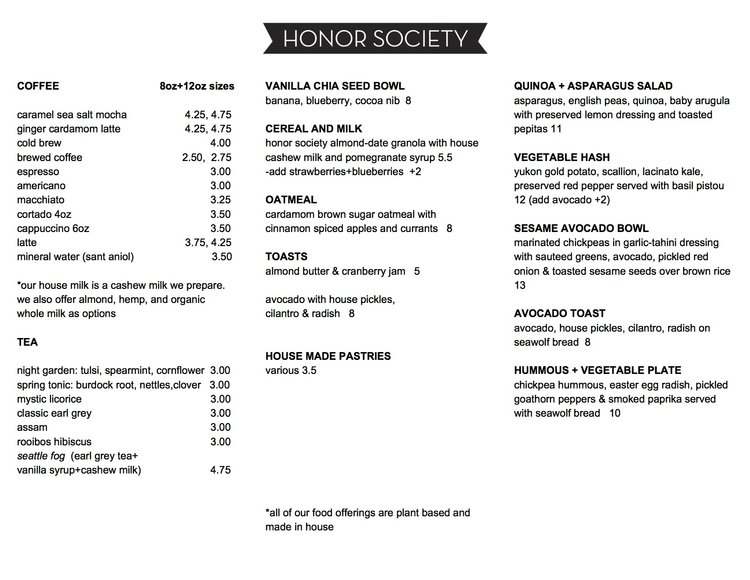 Menu  Honor Society Coffee