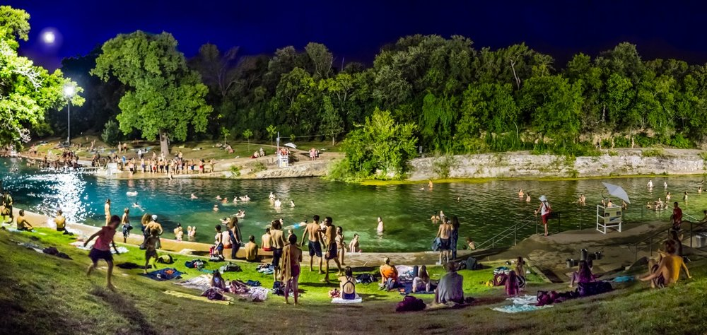 Full moon swim at BARTON SPRINGS, AUSTIN, AUGUST 2014