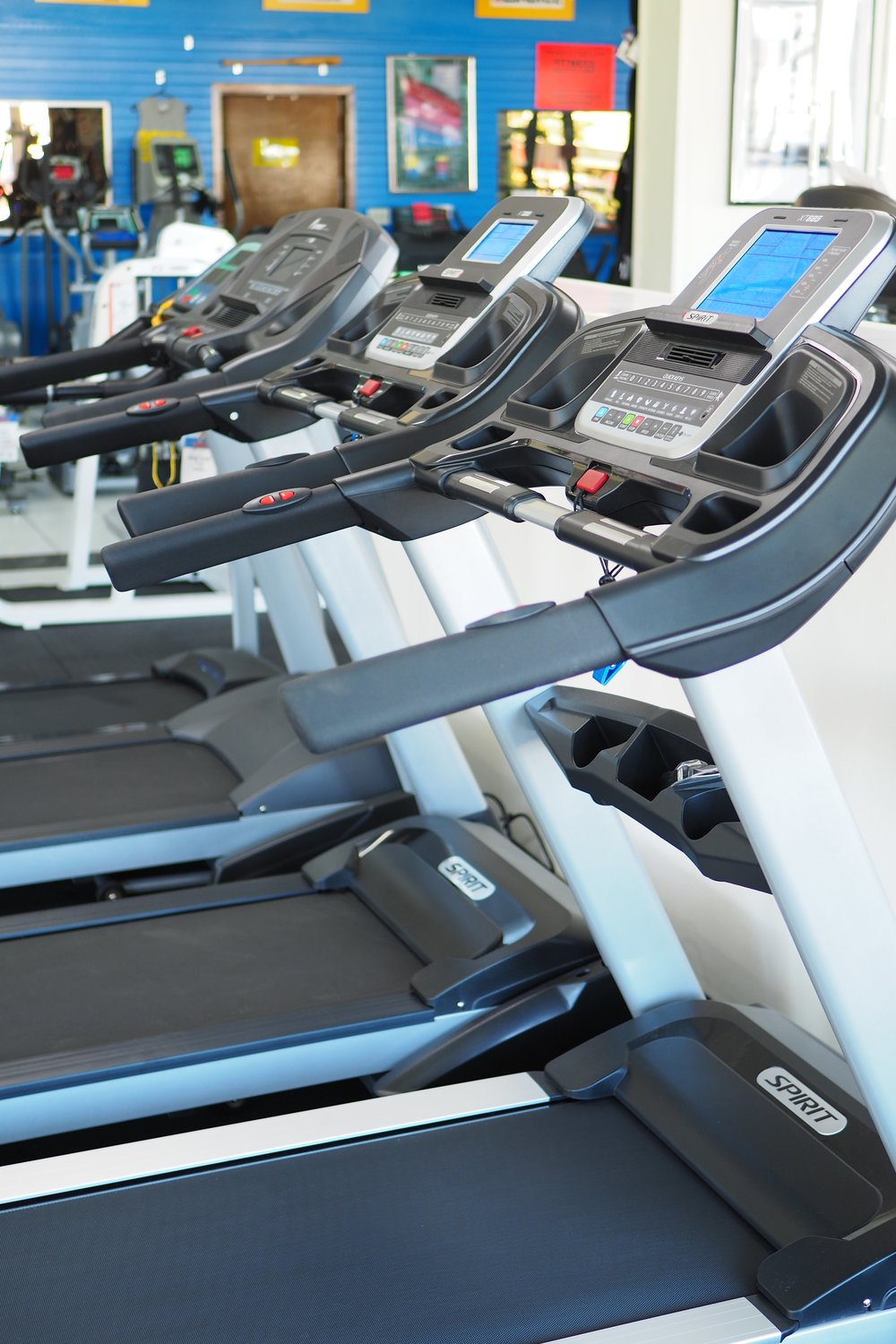 A few of our treadmills in our showroom