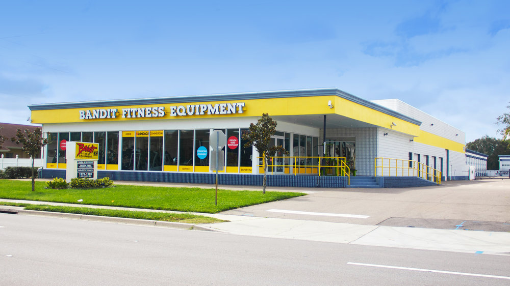 Our facility from the street. Two floors, 23,000 sq. ft. of showroom and warehouse space, full of new & used exercise equipment. Come check it out!