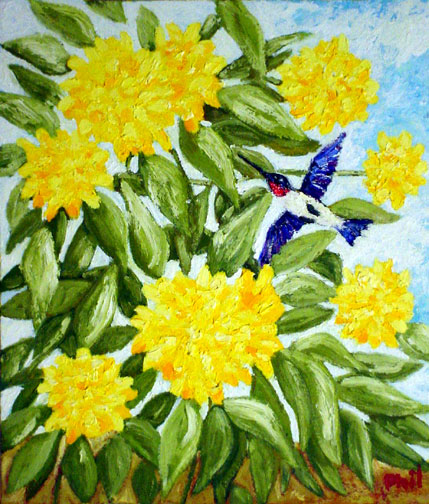 """HUMMINGBIRD"" painting by brother of AUTHOR   ©Copyright 2015     www.beyondthe12th.com         All rights reserved"
