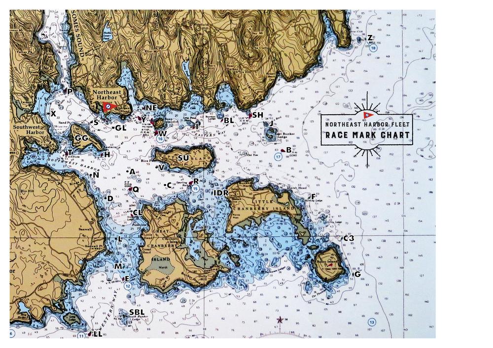 Northeast Harbor Maine Map.Race Mark Chart Northeast Harbor Fleet
