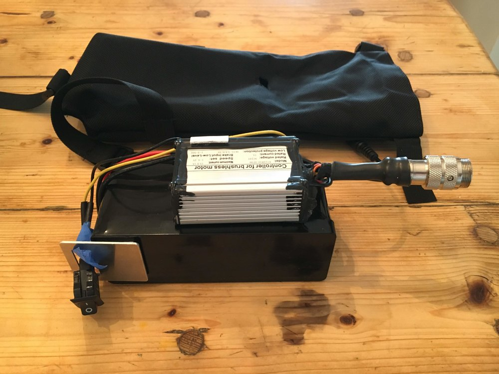 Battery and controller as removed from OEM bag