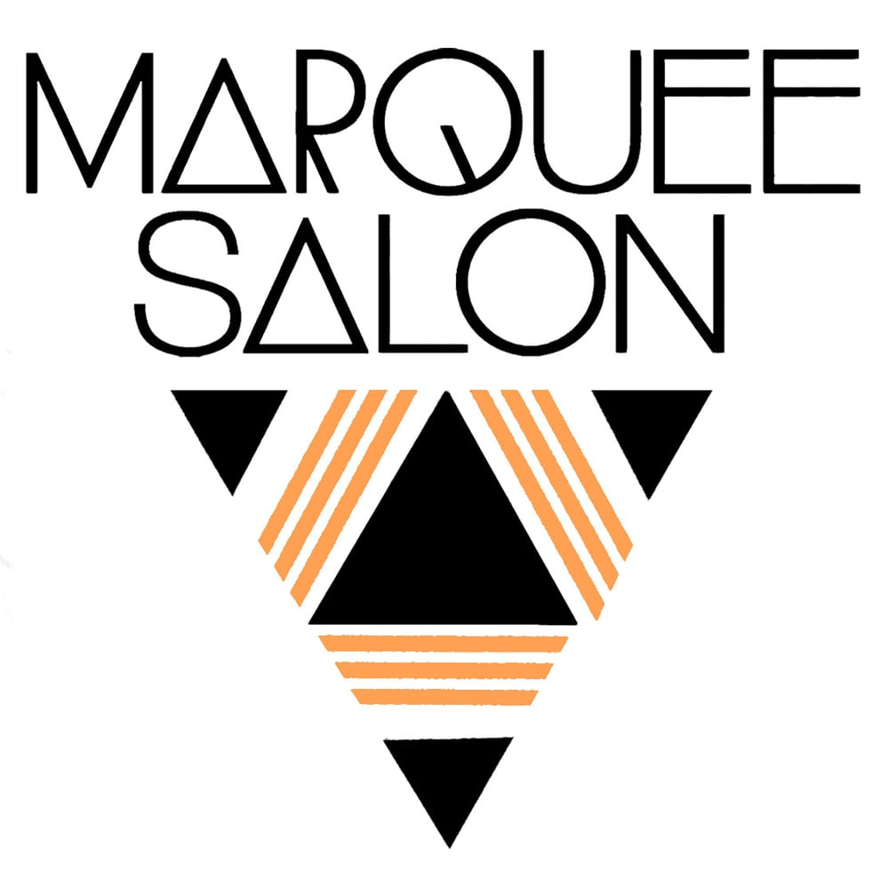 STARCADE DESIGNS FOR MARQUEE SALON / LOGO DESIGN, WINDOW DECAL DESIGN FOR COPPER LEAF APPLICATION / ©MARQUEE SALON           .