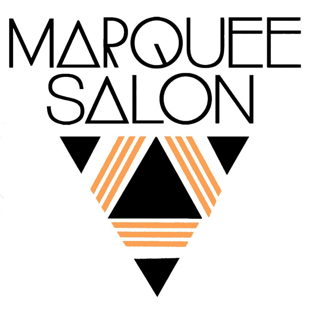 STARCADE DESIGNS FOR MARQUEE SALON / LOGO DESIGN, WINDOW DECAL DESIGN FOR COPPER LEAF APPLICATION /©MARQUEE SALON      .
