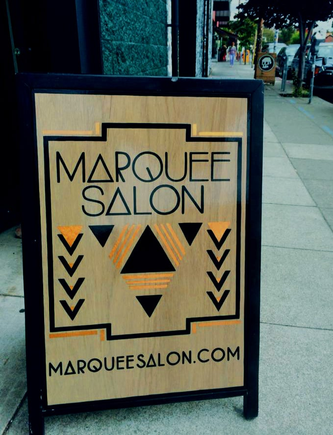 STARCADE DESIGNS CUSTOM DESIGN FOR MARQUEE SALON SIGNAGE / CUSTOM SIGN PAINTING AND COPPER FOIL APPLICATION BY SF SIGNS / ©MARQUEE SALON           .