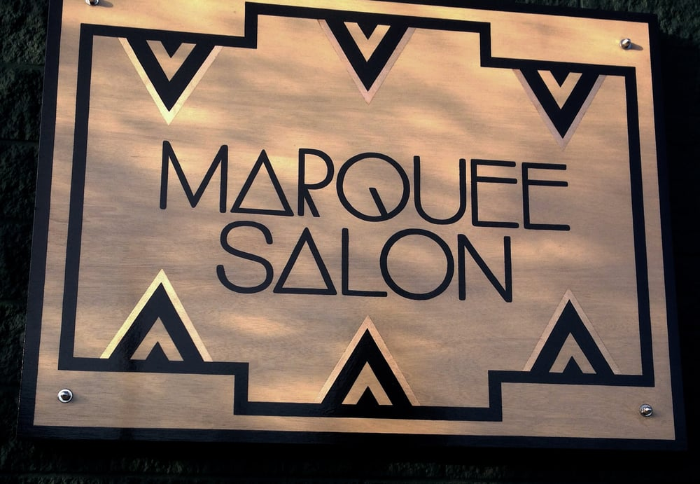 STARCADE DESIGNS CUSTOM DESIGN FOR MARQUEE SALON SIGNAGE/ CUSTOM SIGN PAINTING AND COPPER FOIL APPLICATION BY SF SIGNS / ©MARQUEE SALON  .