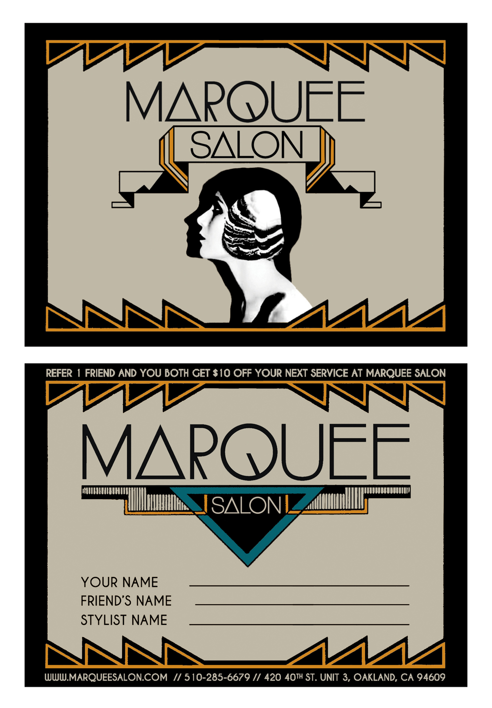 TARCADE DESIGNS FOR MARQUEE SALON / REFERRAL CARD FOR PRINT /©MARQUEE SALON          .