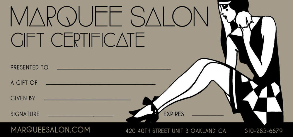 TARCADE DESIGNS FOR MARQUEE SALON / GIFT CERTIFICATE FOR PRINT / ©MARQUEE SALON