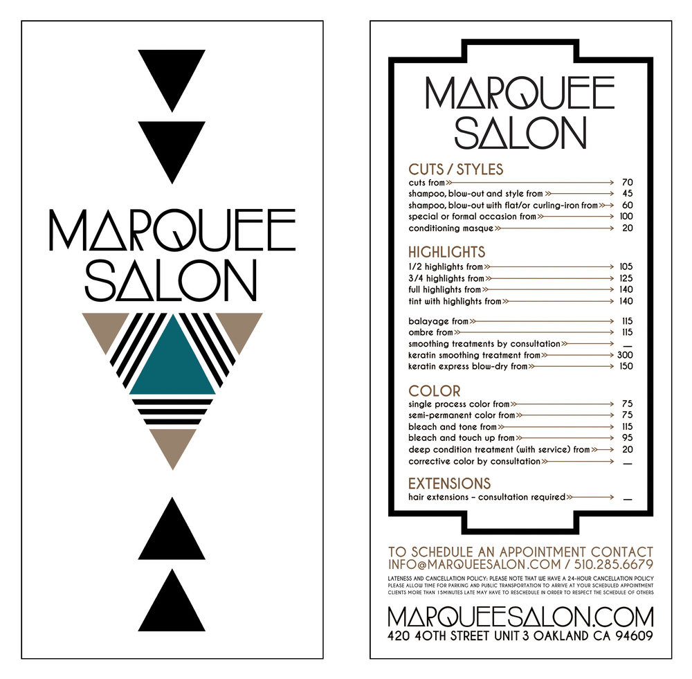 STARCADE DESIGNS FOR MARQUEE SALON / SALON MENU / ©MARQUEE SALON        .
