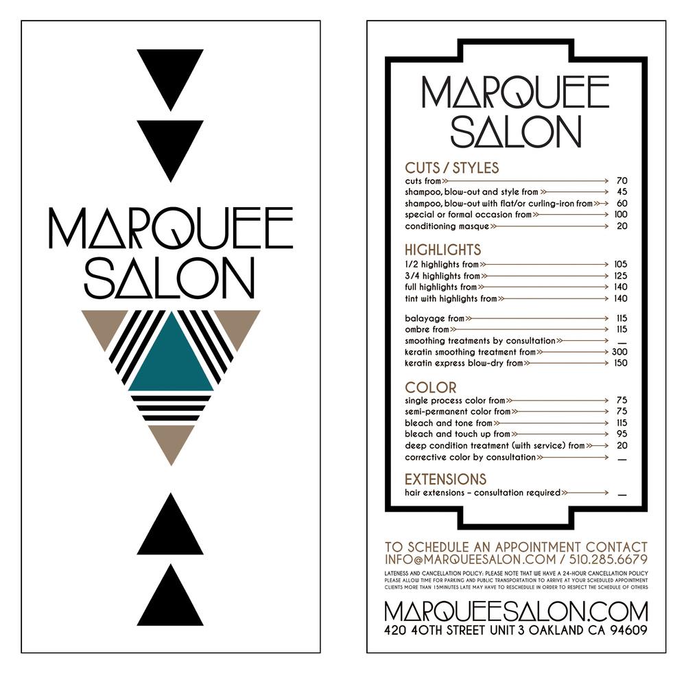 STARCADE DESIGNS FOR MARQUEE SALON / SALON MENU /©MARQUEE SALON    .