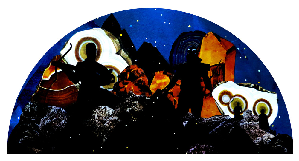 SPACE WARRIORS / GOUACHE & ACRYLIC, MIXED MEDIA COLLAGE ON PAPER / 13X25IN