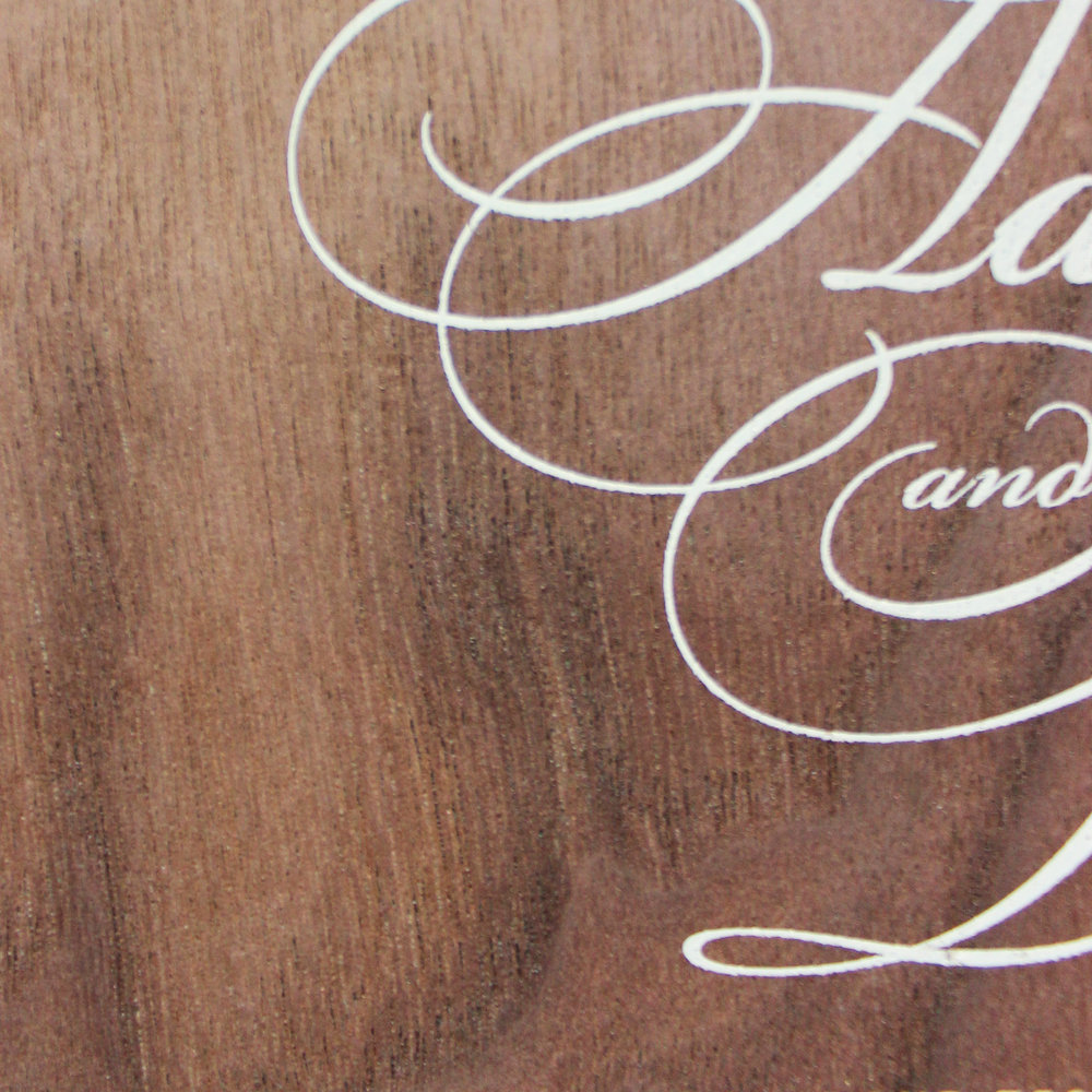 walnut wood + white ink flat printing