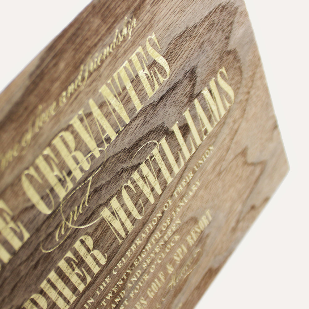 walnut wood + gold foil stamp