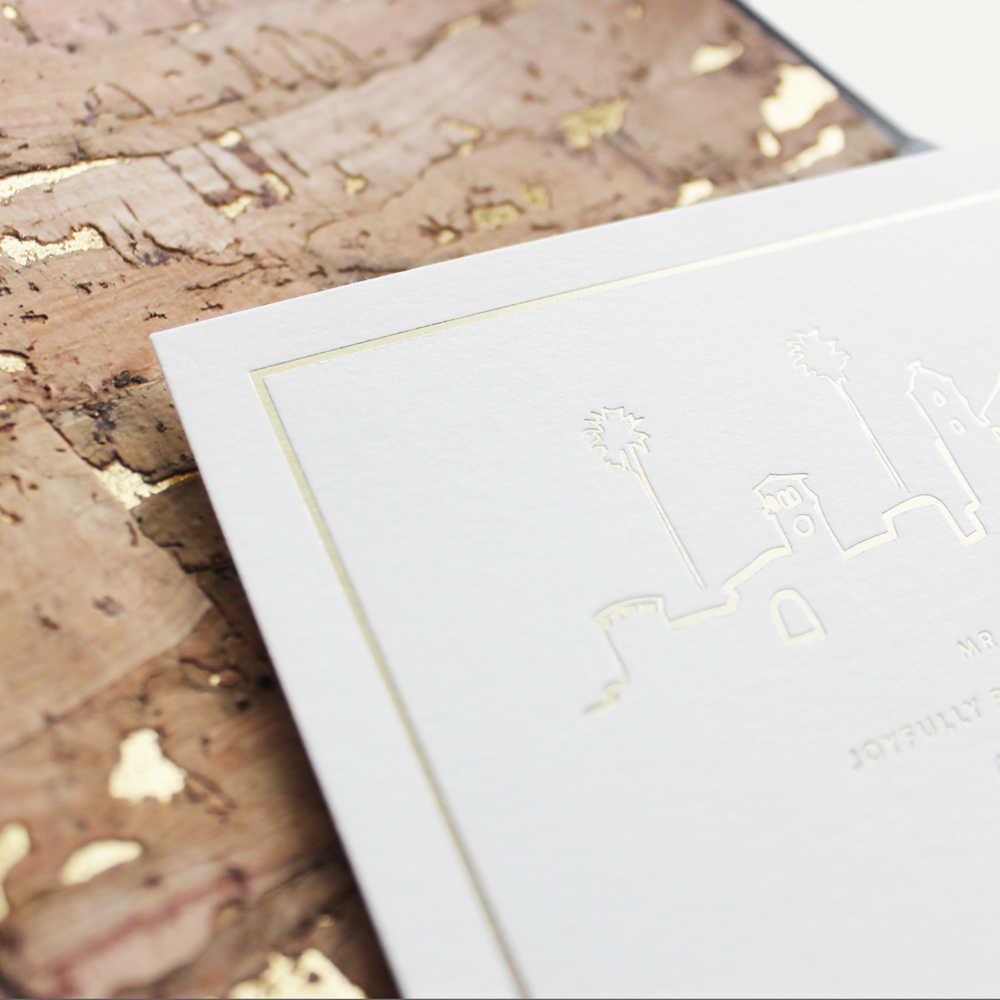 cotton paper + gold foil stamping + 24k cork envelope liner