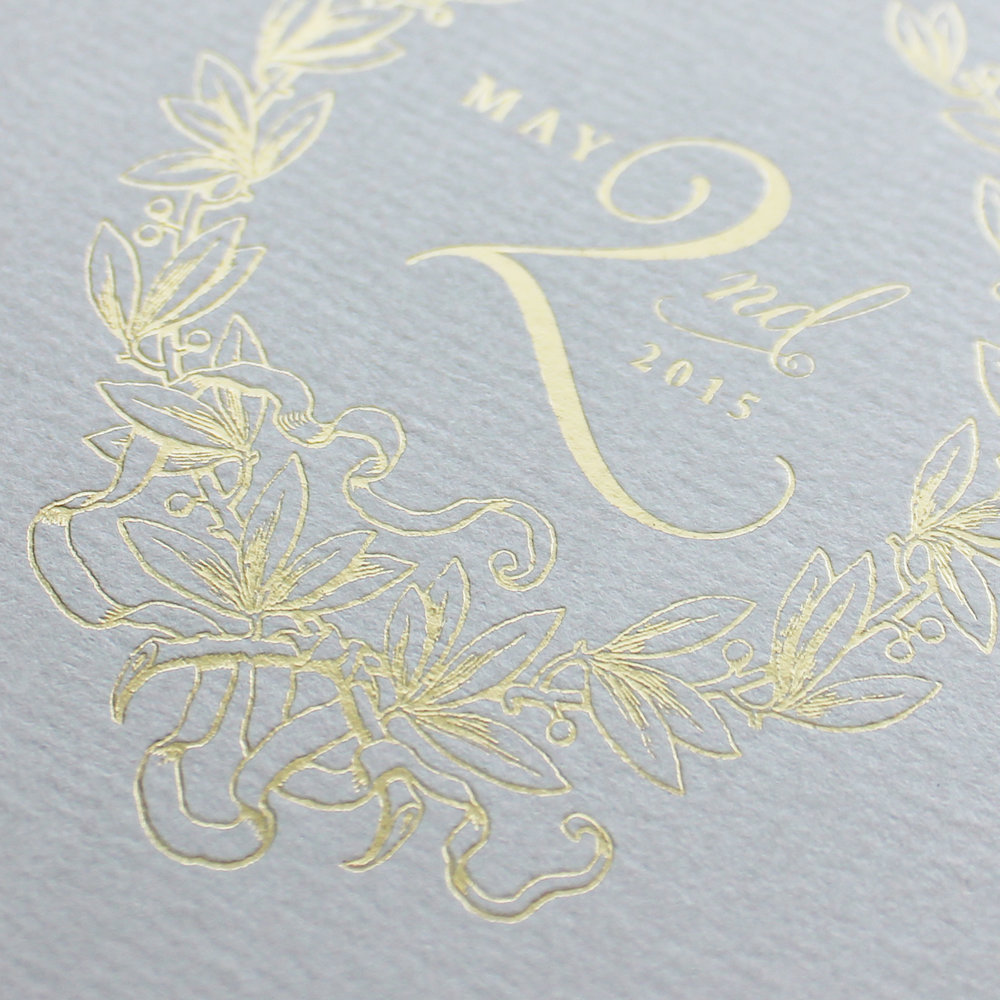 special order gray linen paper + gold foil stamping