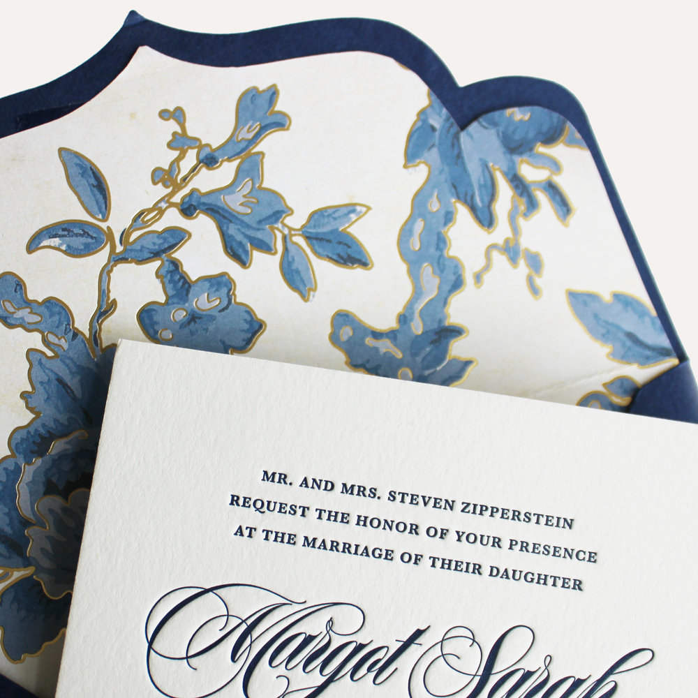 cotton paper + letterpress printing + die cut envelope & custom envelope liner