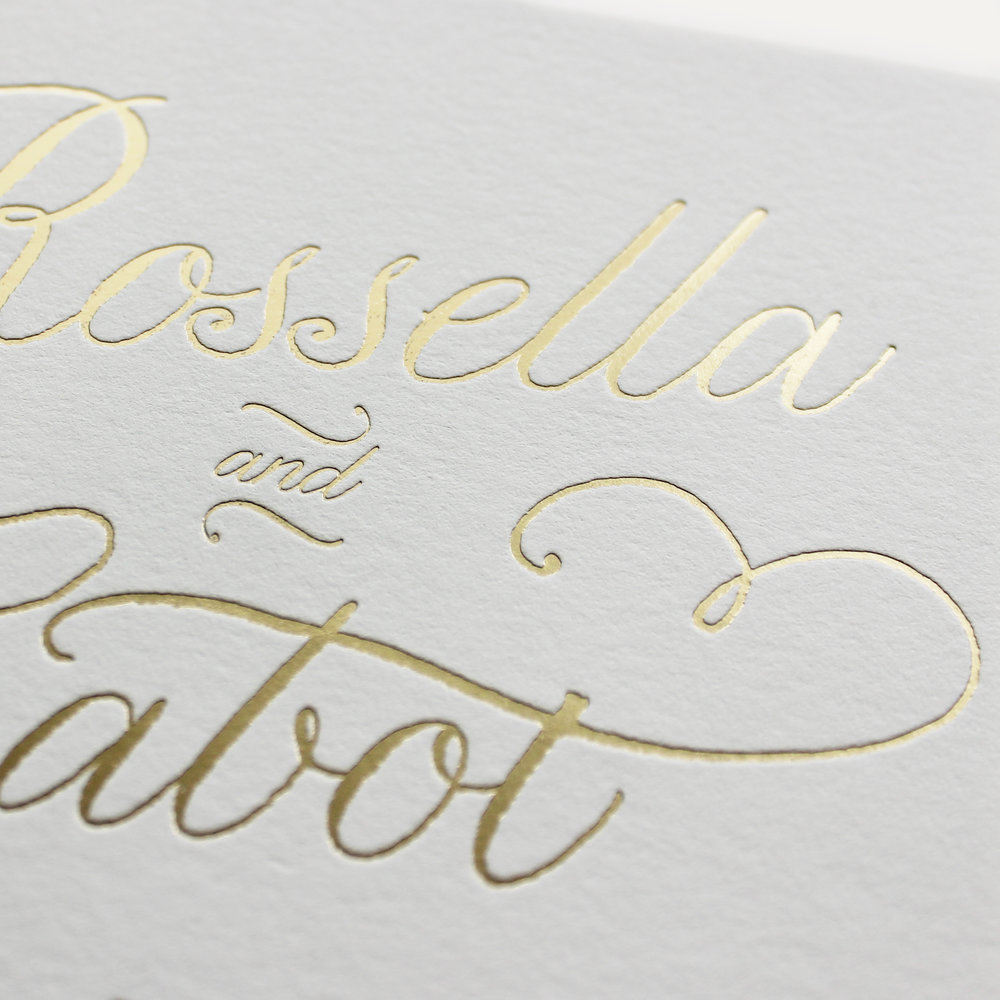 cotton paper + gold foil stamping