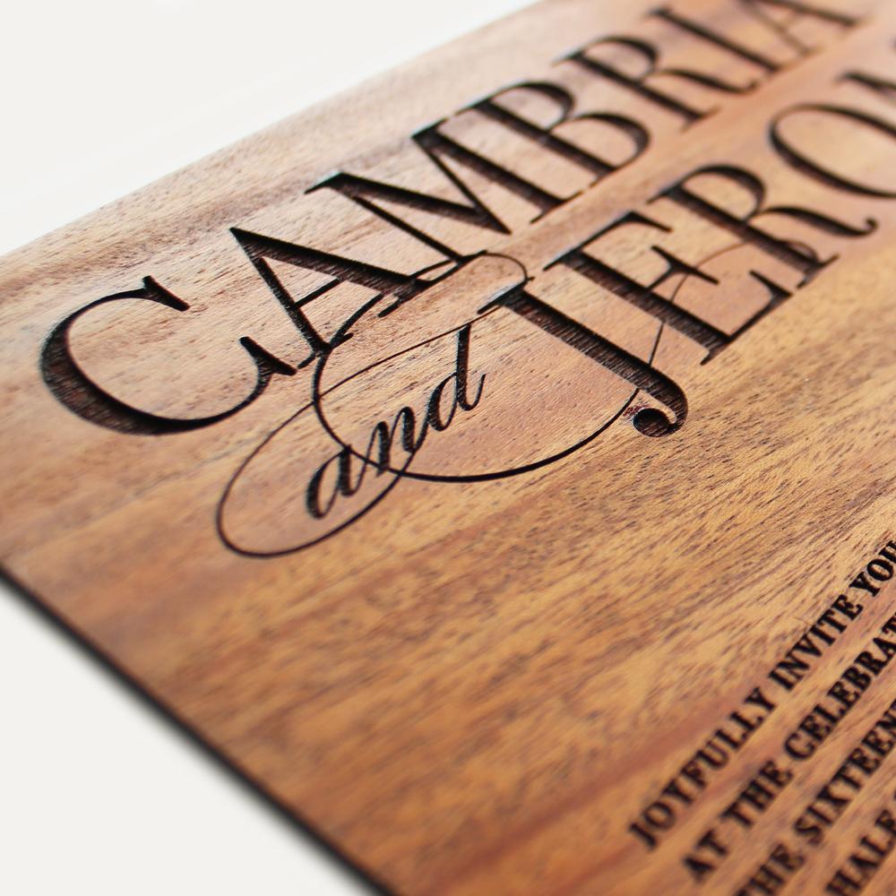 special order mahogany wood + laser engraved