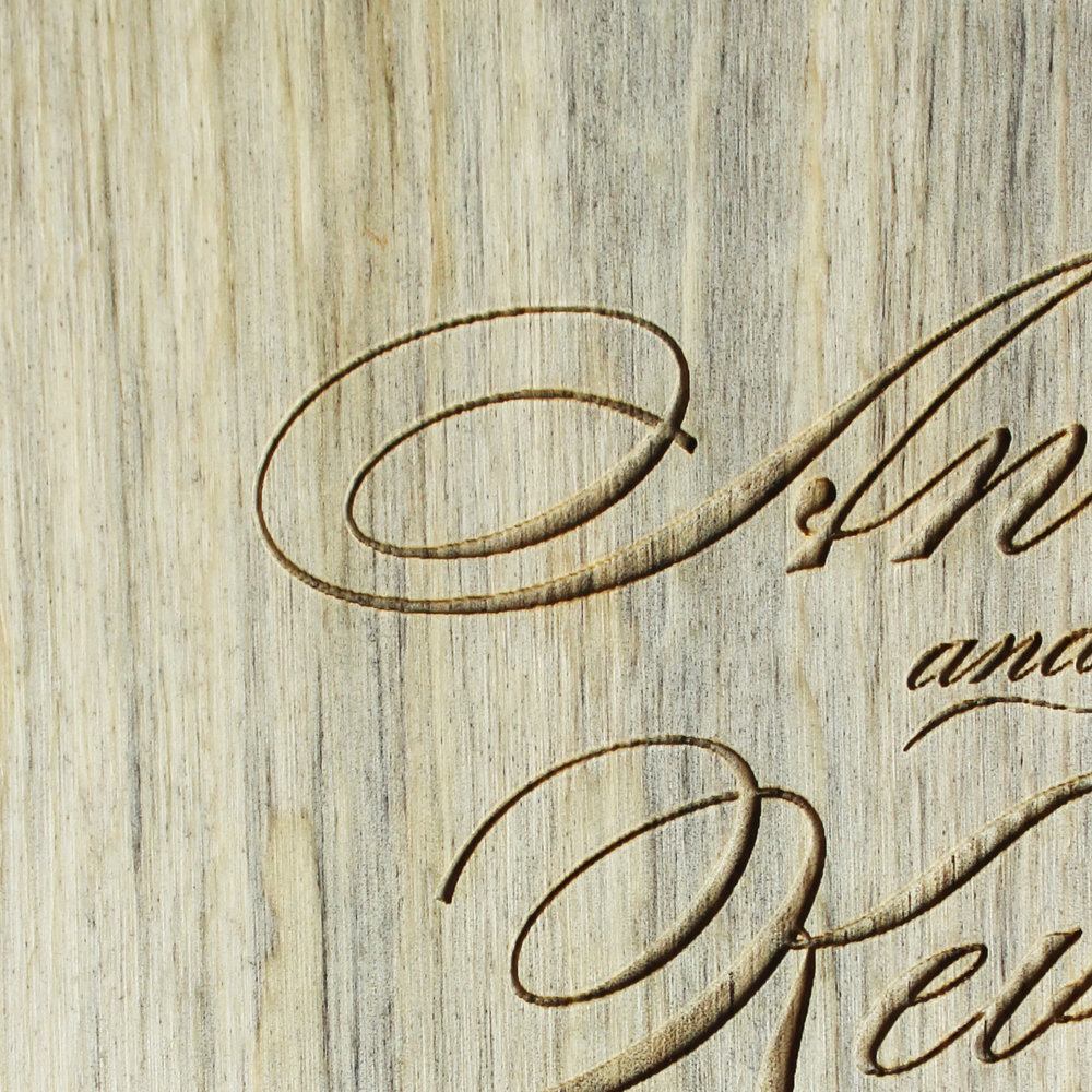special order salvaged pine wood + laser engraved