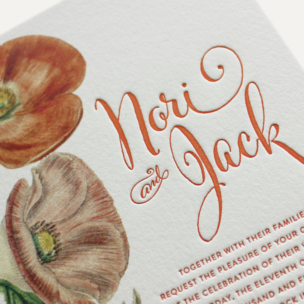 cotton paper + flat print graphics + letterpress text
