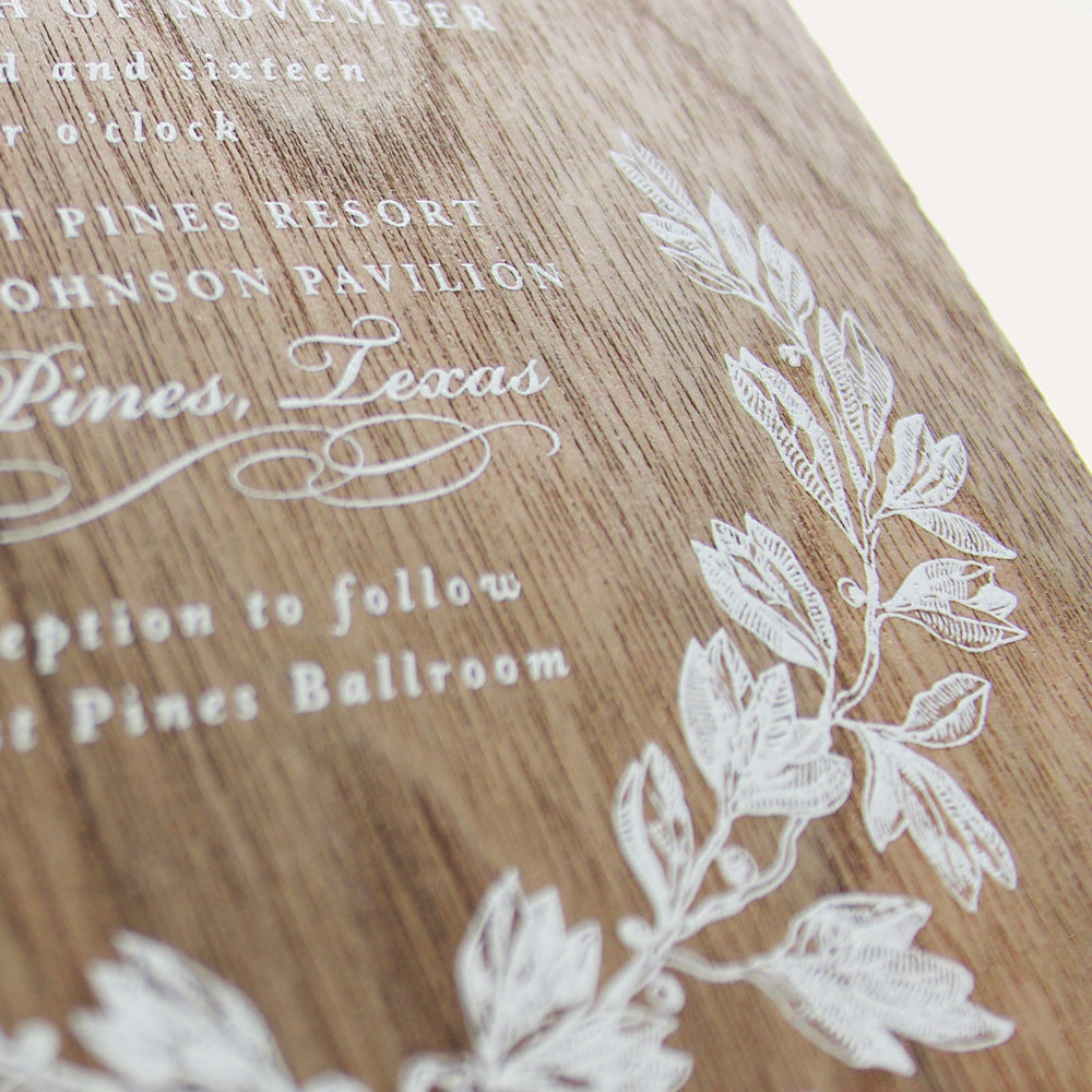 walnut wood + white ink printing
