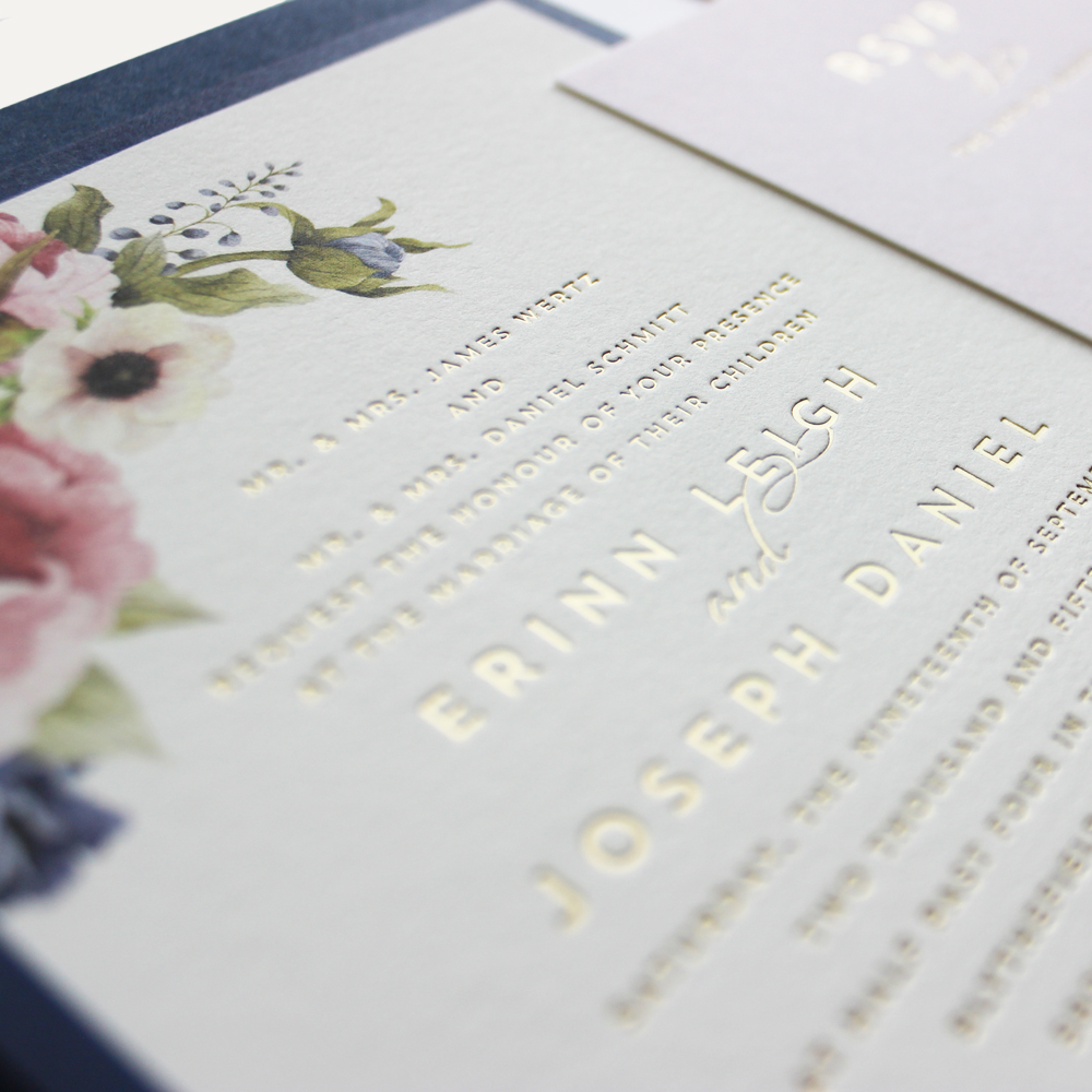 cotton paper + flat print graphics + gold foil text