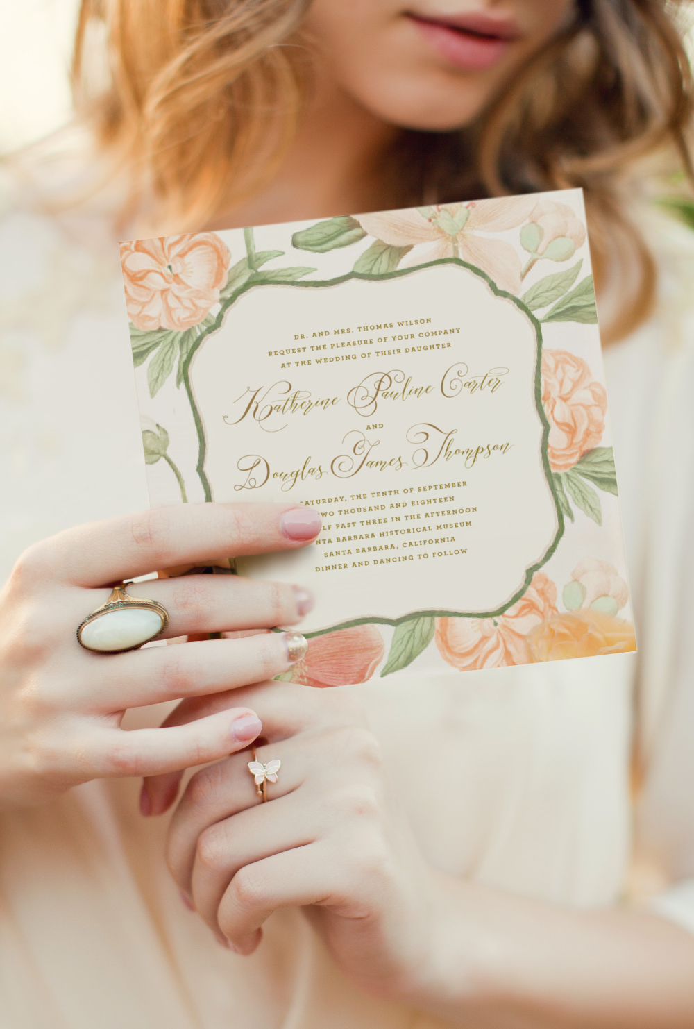peach-floral-square-wedding-invitation-gold-calligraphy-soft-coral-garden-wedding.jpg
