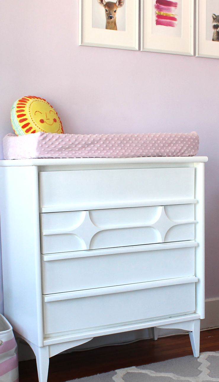 The $30 thrifted mid-century style dresser + $20 of white paint = SLAY