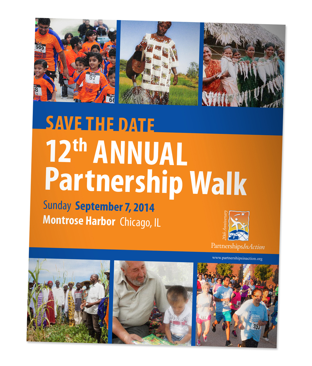 Partnerships in Action Save the date flyer for annual walk for non-profit organization
